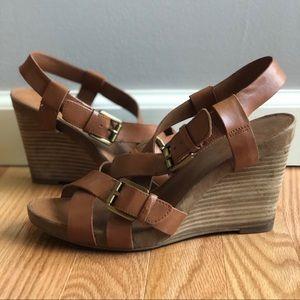 Franco Sarto Cognac Leather Hallie Wedge Sandals